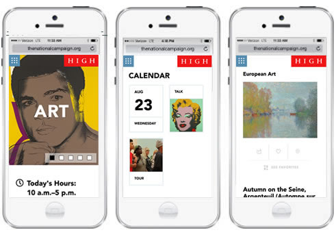 three screenshots of the High Museum's webiste on a mobile device.