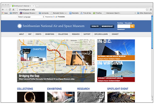 screenshot of the National Air and Space Museum's Home Page.