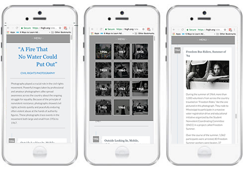 three screenshots of the civil rights timeline on a mobile device.